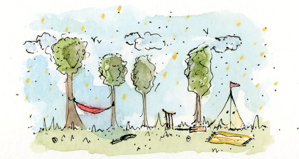 Watercolour drawing of trees and tent